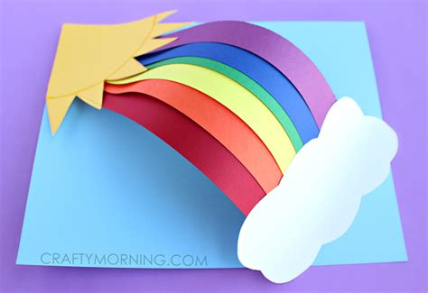 3d paper craft 3d paper rainbow craft crafty morning