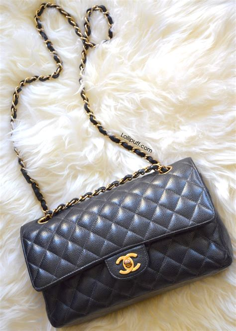 inside a medium classic chanel flap bag lollipuff
