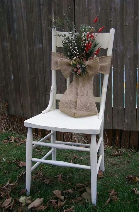 chair decorated for christmas with burlap ribbon springs
