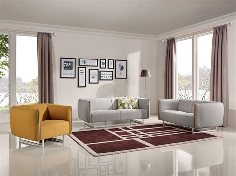 Modern Fabric Sofa Set Divani Casa Medora Modern Grey Yellow Fabric Sofa Set L Angolo Furniture