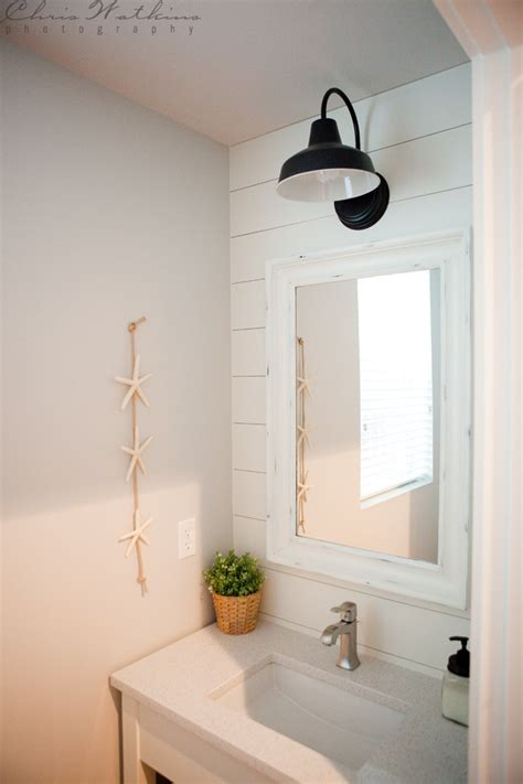 barn wall sconce lends farmhouse   powder room