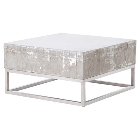 block coffee table maximus concrete chrome distressed square block coffee