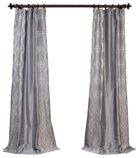 taffeta silk curtains chai silver embroidered faux silk taffeta curtain single