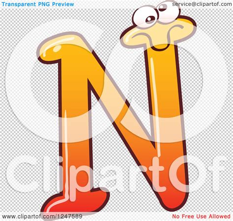 Character With Letter N Clipart Of A Gradient Orange Capital N Alphabet Letter Character Royalty Free Vector