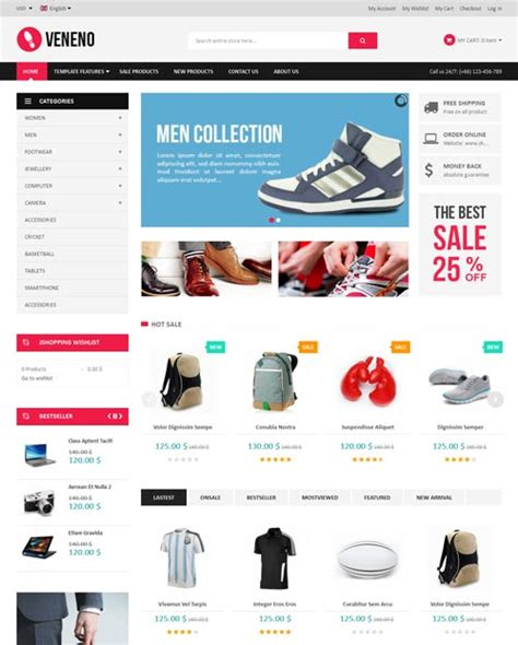 template joomla online store free veneno ecommerce joomla theme free download