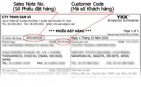note sle san vi co ltd query of delivery