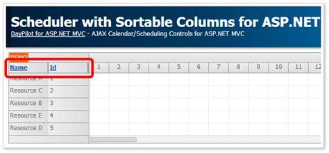 tutorials daypilot for asp net mvc calendar scheduler scheduler with sortable columns asp net mvc 5 daypilot