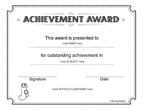 certificate templates for achievement award certificate of achievement award template education world