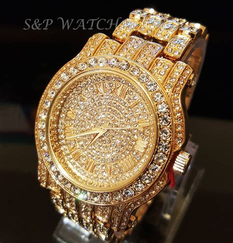 hip hop iced out gold tone techno pave bling simulated