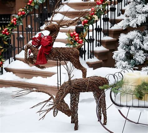 outdoor twig deer pottery barn