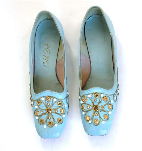 jeweled flats shoes pastel blue embellished jeweled flats shoes by vintagerebelle