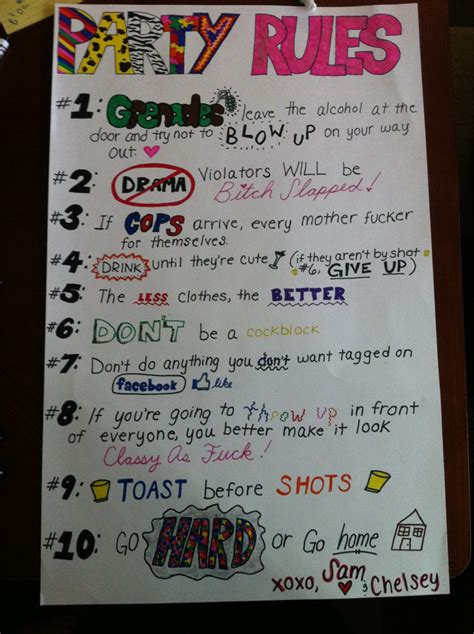 house party rules pin party rules poster image search results on pinterest