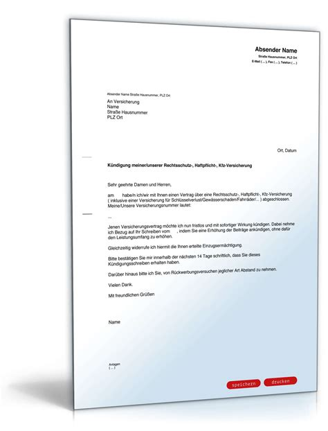 Antrag Brief Schreiben au 223 erordentliche k 252 ndigung versicherung vorlage zum
