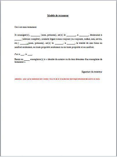 Modeles De Lettre Testament Modele Lettre Pour Rediger Testament Document