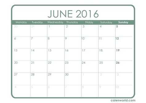 printable month calendar june 2016 june 2016 calendar printable calendars