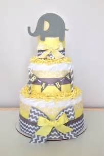 items similar to chevron gray and yellow lil peanut elephant diaper cake baby shower