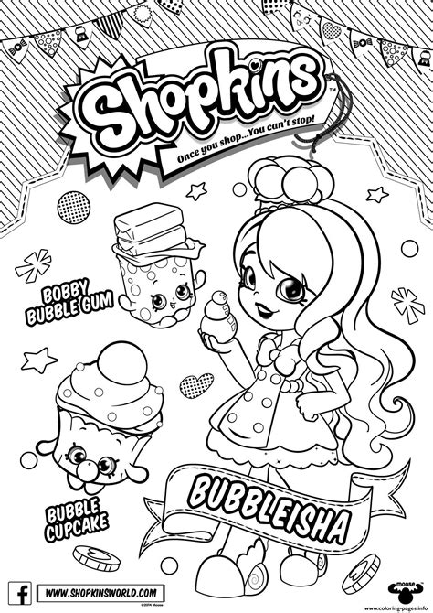 print out coloring pages of shopkins bubbleisha shopkins shoppies with bubble gum coloring