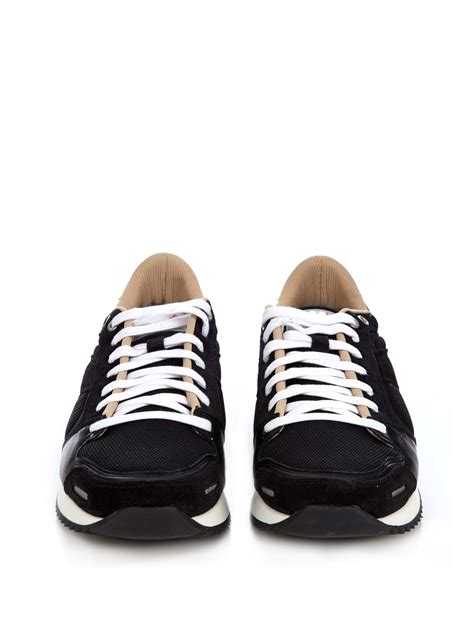 ami sneakers ami running leather sneakers in black for lyst