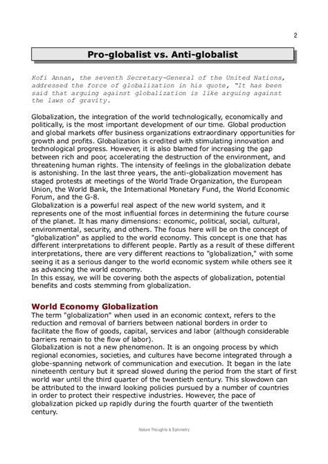 Globalisation Pro Contra Essay by Pro Globalist Vs Anti Globalist
