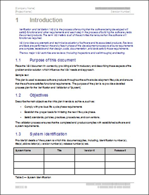 validation test plan template verification and validation plan template