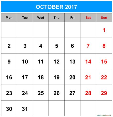 Vertex42 Calendar 2017