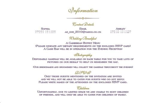 wedding information card wording uk brambles wedding stationery booklet pages guest information page