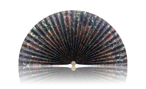 decorative pleated window fans silvery gold with plum and teal flowers pleated fan