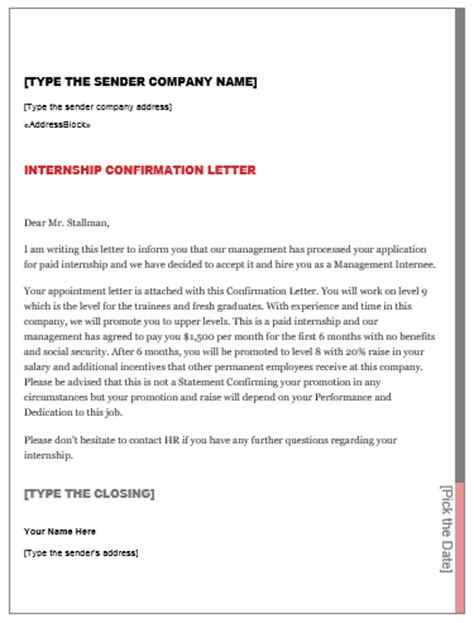 Confirmation Letter Internship Request Letter Internship