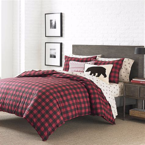 king size bed comforter set 3 pc red black checkered plaid