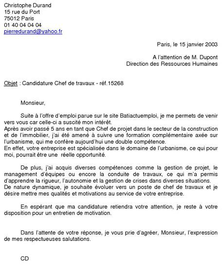 Présentation Lettre De Motivation Candidature Exemple De Lettre De Motivation
