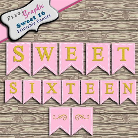 Sweet 16 Banner Template by Sweet Sixteen Printable Banner Bunting Instant