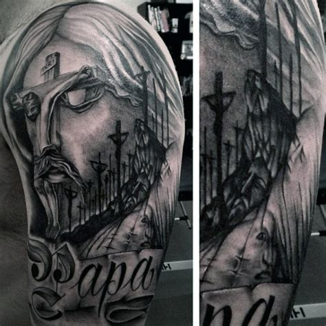 religious half sleeve tattoos 100 christian tattoos for manly spiritual designs