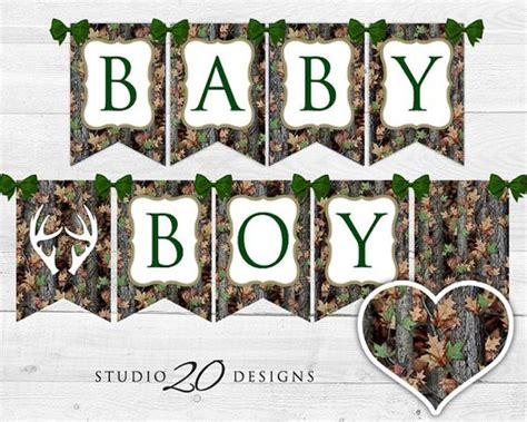 Realtree Baby Shower Decorations by Instant Camo Baby Shower Banner Green Camouflage