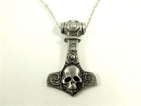 silver pendant necklace thor s hammer pewter mens viking