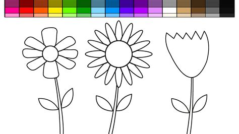 flower to color learn colors for and color flowers and rainbow
