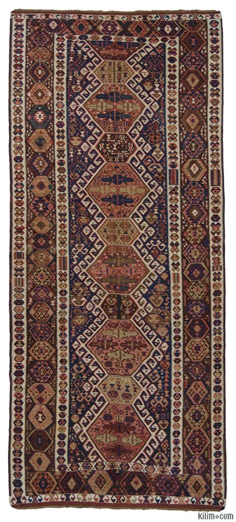 K0015966 Blue Antique Kagizman Kilim Rug Antique Rugs