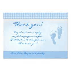baby blue baby shower thank you flat card 5 quot x 7