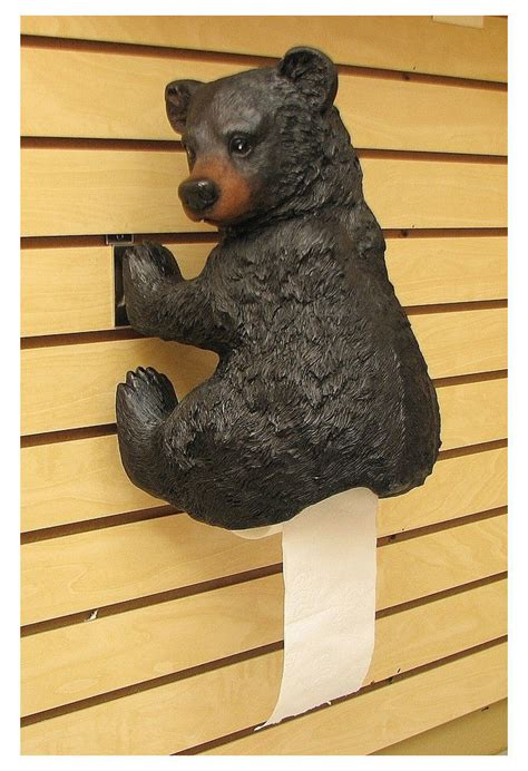 bear decorations for home bear toilet paper holder bathroom accessories black resin