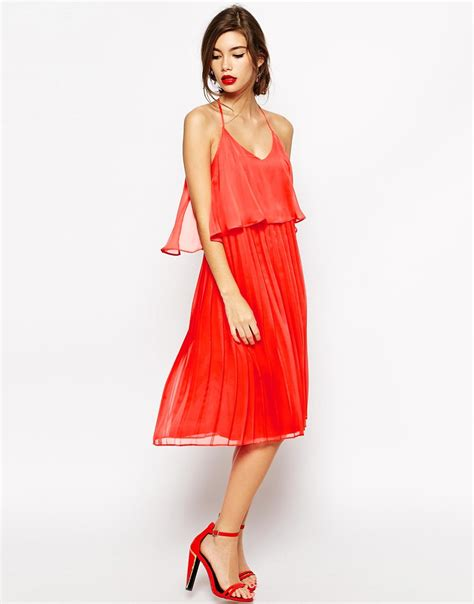 swing skirt dress asos cami swing dress with pleated skirt in red lyst