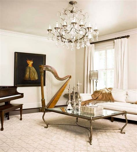 neoclassical decor decorating with musical instruments harps