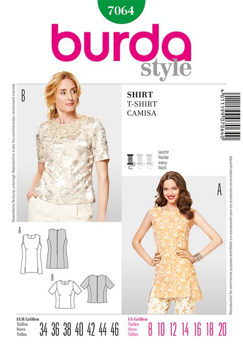 pattern sewing burda burda 7064 misses tops sewing pattern