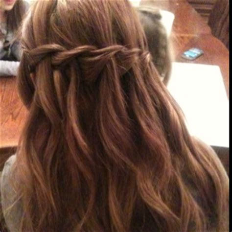 braid across side of head waterfall braid across the back of head bows and