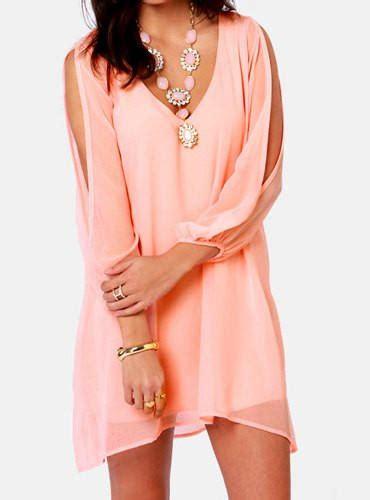 Mini Dress Anak Hello Pink pink v neck sleeve chiffon mini from hello styles clothes