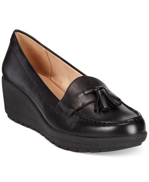 black wedge loafers lyst easy spirit coria platform wedge loafers in black
