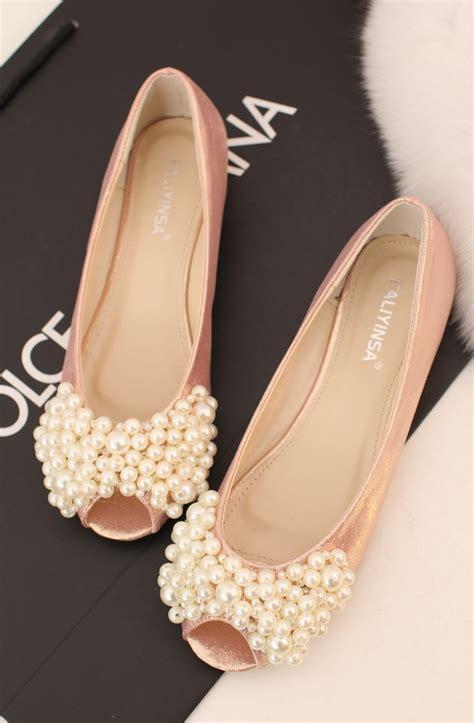 pink flat shoes wedding sweet pink beaded open toe flat wedding shoes on a la