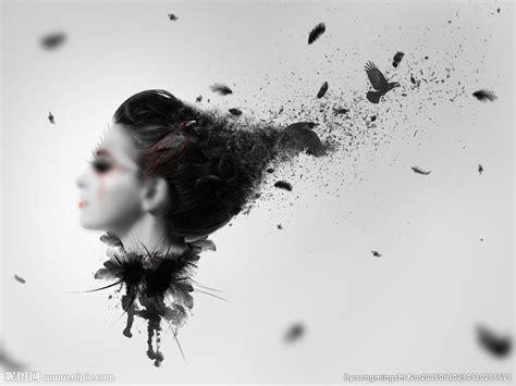 adobe photoshop tutorial black and white 抽象风格美女艺术照 图片合成设计图 人物 psd分层素材 设计图库 昵图网nipic com