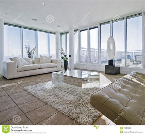 Modern Apartment Sofa Massive Living Room With Chunky White Sofas Royalty Free