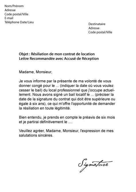 Resiliation Lettre Type Modele Lettre Resiliation Bail