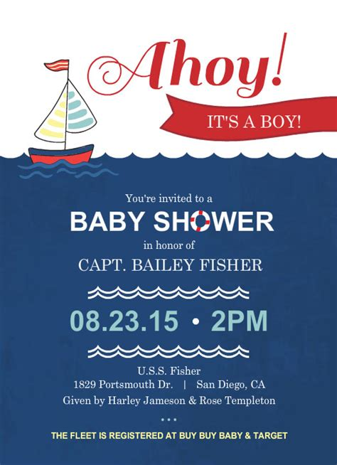 Nautical Themed Baby Shower Invitations Template Best Template Collection Nautical Baby Shower Invitations Templates