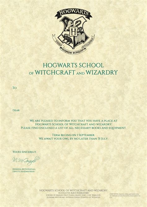 related image hogwarts acceptance letter template